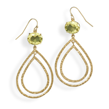 14 Karat Gold Plated Brass Earrings with Yellow CZ