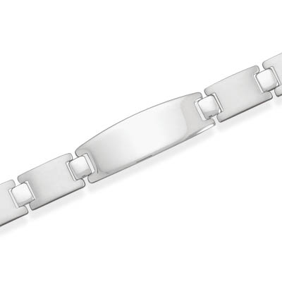 "8"" Brushed Stainless Steel Link Bracelet with Polished ID Plate"