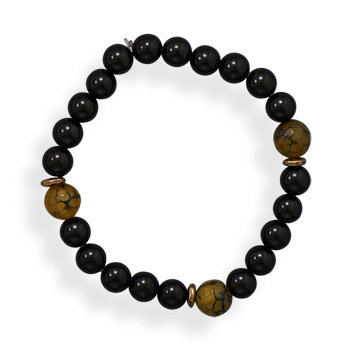 "8"" Black Onyx, Agate and Brass Stretch Bracelet"
