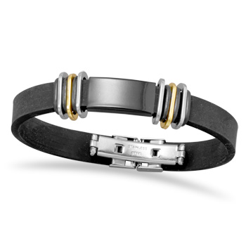 "8"" Two Tone Stainless Steel and Rubber Men\'s ID Bracelet"
