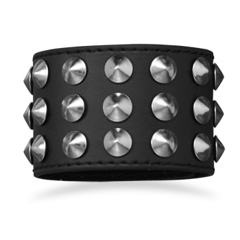 "7"" - 8"" Black Leather Studded Men's Fashion Bracelet"