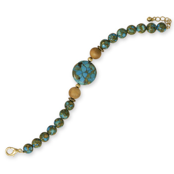 "7.5"" + 1"" Fashion Bracelet with Mosaic Turquoise and Wood Beads"