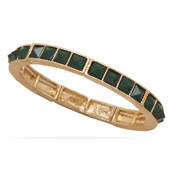 Green Pyramid Fashion Stretch Bracelet