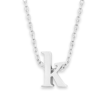"16"" + 2"" Rhodium Plated Brass Initial ""k"" Necklace"