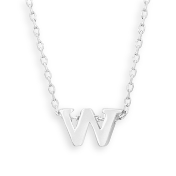 "16"" + 2"" Rhodium Plated Brass Initial ""w"" Necklace"