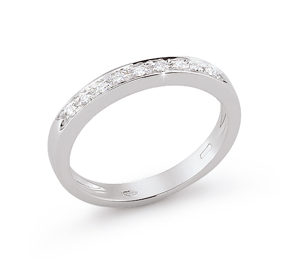 Wedding Ring From Italy 0.09 Ct Diamonds 18K White Gold