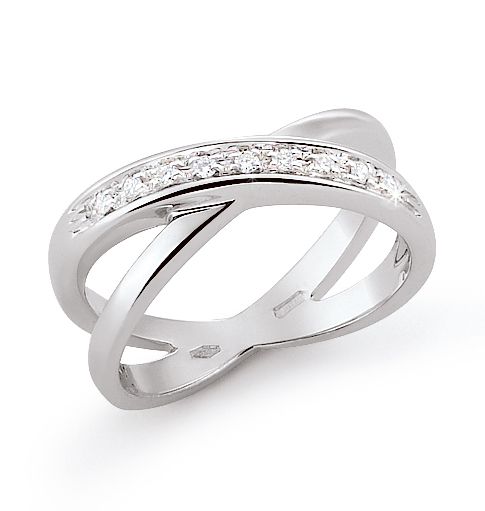 Crossed Wedding Bands.Unique Crossed Strand Wedding Ring 0 09 Ct Diamonds 18k White Gold