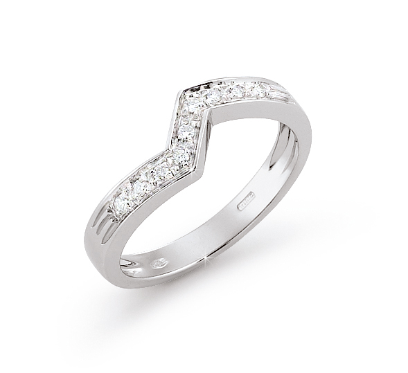 Unique Curved Wedding Ring 0.09 Ct Diamonds 18K White Gold