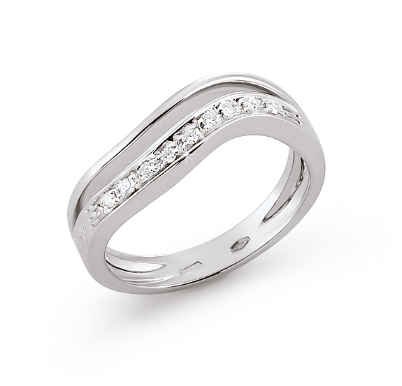 Split Shank Italian Wedding Ring 0.09 Ct Diamonds 18K White Gold
