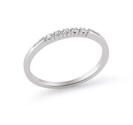 Classic Design 5-Stone Wedding Ring 0.05 Ct Diamonds 18K White Gold