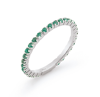 Italian Emerald Eternity Wedding Band Diamonds 18K White Gold