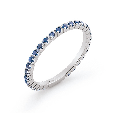 Italian Sapphire Eternity Wedding Band Diamonds 18K White Gold