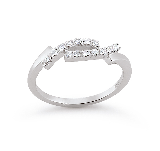 Curved Shank Wedding Ring 0.11 Ct Diamonds 18K White Gold