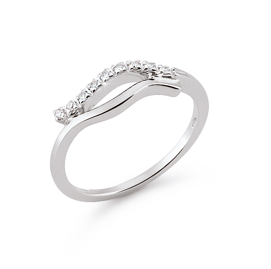 Curved 2-Band Italian Wedding Ring 0.07 Ct Diamonds 18K White Gold