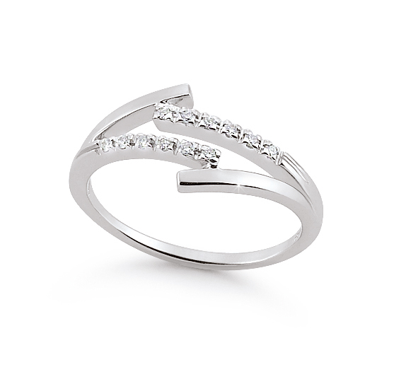 Italian 4-Shank Wedding Ring 0.09 Ct Diamonds 18K White Gold