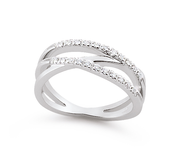 Exclusive Italian Wedding Ring 0.17 Ct Diamonds 18K White Gold