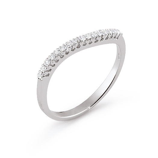 Curved Pave Wedding Ring 0.09 Ct Diamonds 18K White Gold
