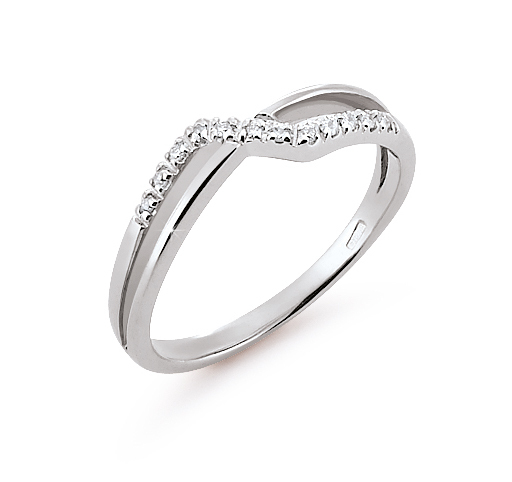 Crossed Dual Shank Wedding Ring 0.06 Ct Diamonds 18K White Gold
