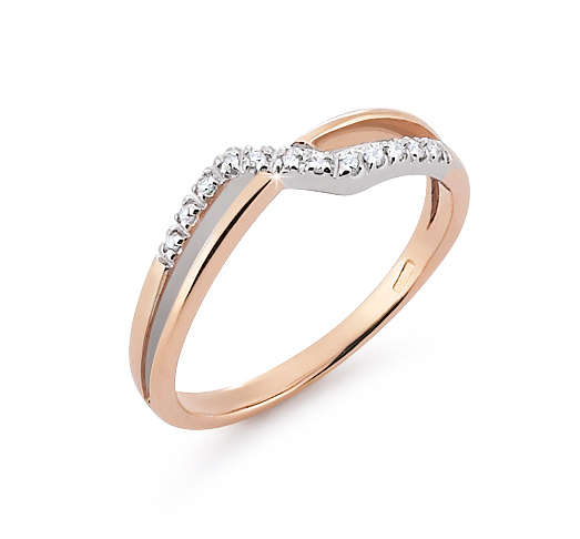 Crossed Dual Shank Wedding Ring 0.06 Ct Diamonds 18K White And Rose Gold