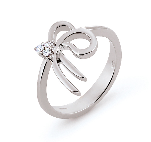 Modern Italian Ribbon Ring 0.06 Ct Diamonds 18K White Gold