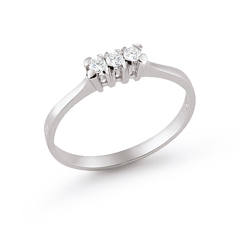 3-Stone Italian Engagement Ring 0.11 Ct Diamonds 18K White Gold