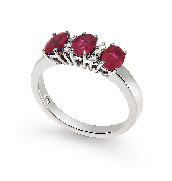 Oval Cut Trilogy 1.81 Ct Ruby Wedding Ring 0.09 Ct Diamonds 18K White Gold