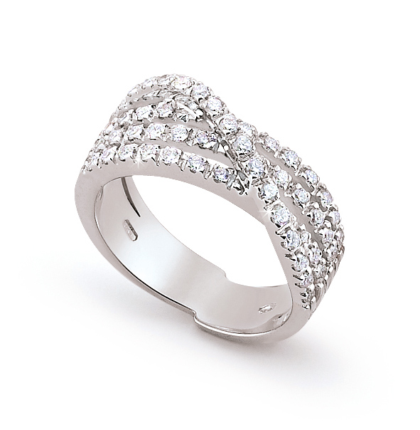 Crossed Strand Pave Wedding Ring 0.71 Ct Diamonds 18K White Gold