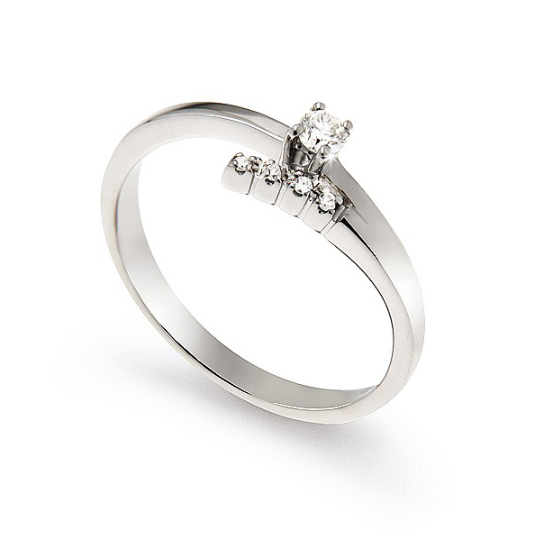 Italian Split-Shank Engagement Ring 0.1 Ct Diamonds 18K White Gold