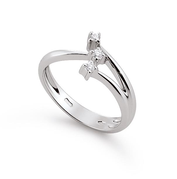 Italian Elegant 3-Strand Flower Ring 0.1 Ct Diamonds 18K White Gold