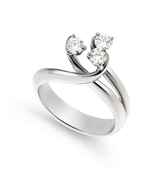 Exquisite 3 Strand Flower Ring 0.45 Ct Diamonds 18K White Gold