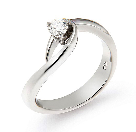 Curved Solitaire Engagement Ring 0.17 Ct Diamonds 18K White Gold