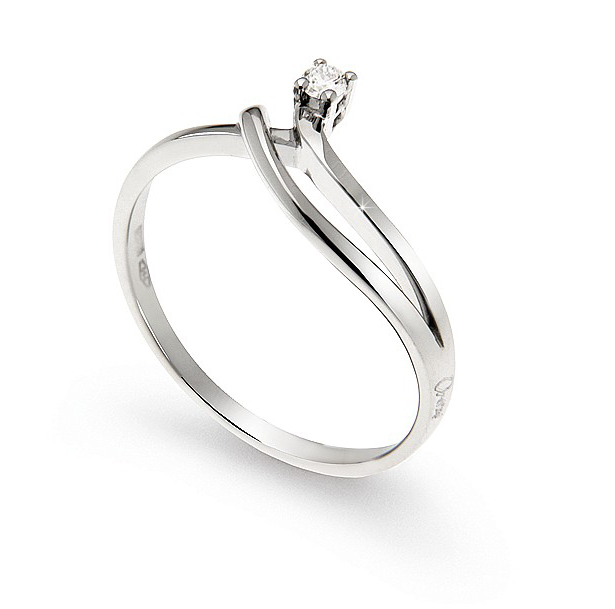 Unique Split Shank Engagement Ring 0.04 Ct Diamonds 18K White Gold