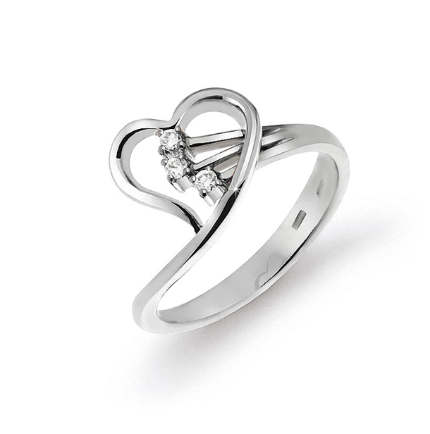 Stylish Heart Ring From Italy 0.08 Ct Diamonds 18K White Gold