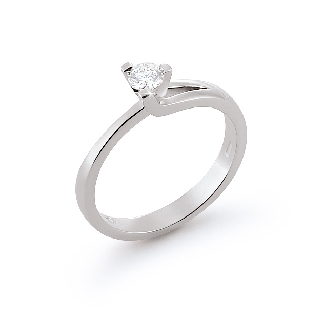 Classic Italian Engagement Ring 0.24 Ct Diamonds 18K White Gold