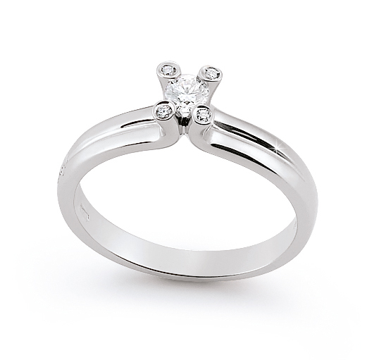 Modern Solitaire Engagement Ring 0.18 Ct Diamonds 18K White Gold