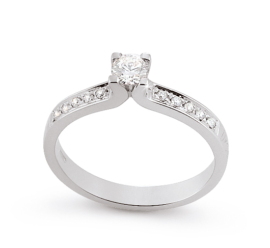 Unique Side-Stone Engagement Ring 0.34 Ct Diamonds 18K White Gold
