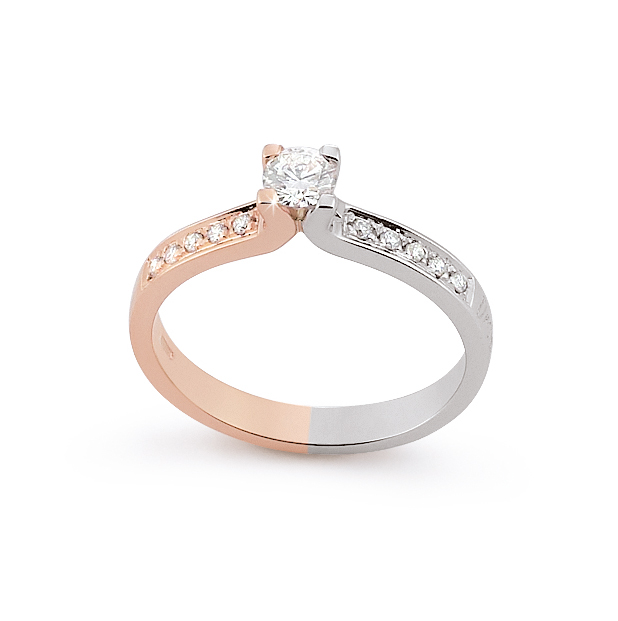 Unique Side-Stone Engagement Ring 0.34 Ct Diamonds 18K White And Rose Gold