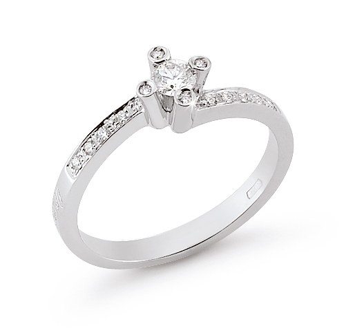 Italian Modern Engagement Ring 0.31 Ct Diamonds 18K White Gold