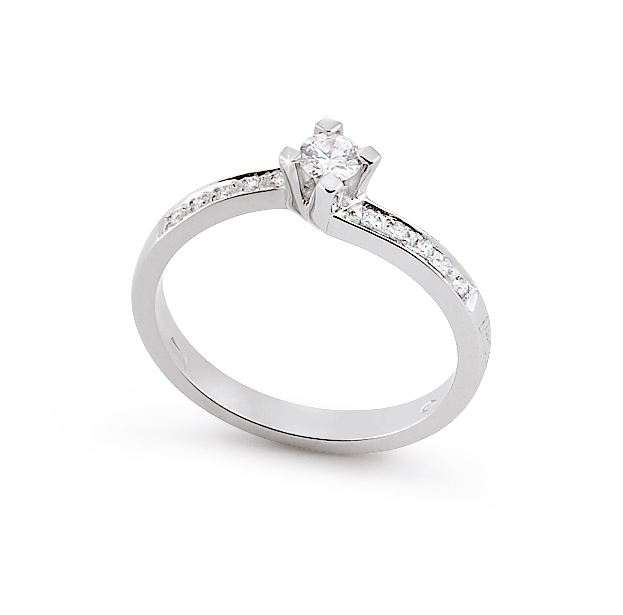 East-West Side-Stone Engagement Ring 0.22 Ct Diamonds 18K White Gold