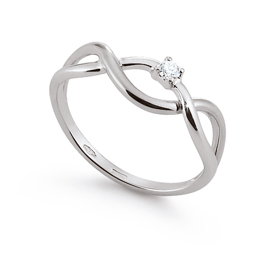 Solitaire Infinity Engagement Ring 0.03 Ct Diamonds 18K White Gold