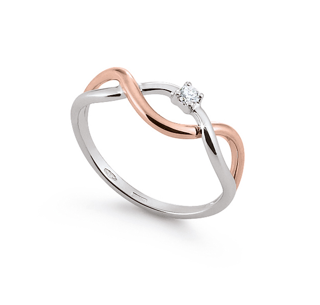 Italian Infinity Engagement Ring 0.03 Ct Diamonds 18K White And Rose Gold