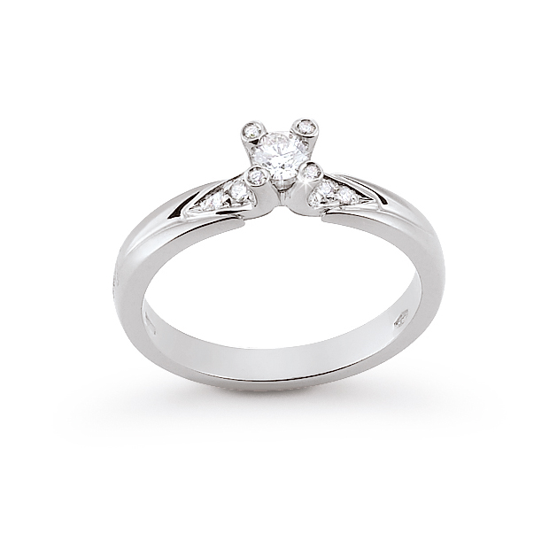 Italian Unique Side-Stone Engagement Ring 0.23 Ct Diamonds 18K White Gold
