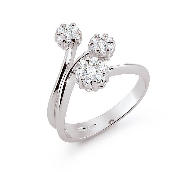 Exclusive Italian Tri Flower Ring 0.51 Ct Diamonds 18K White Gold