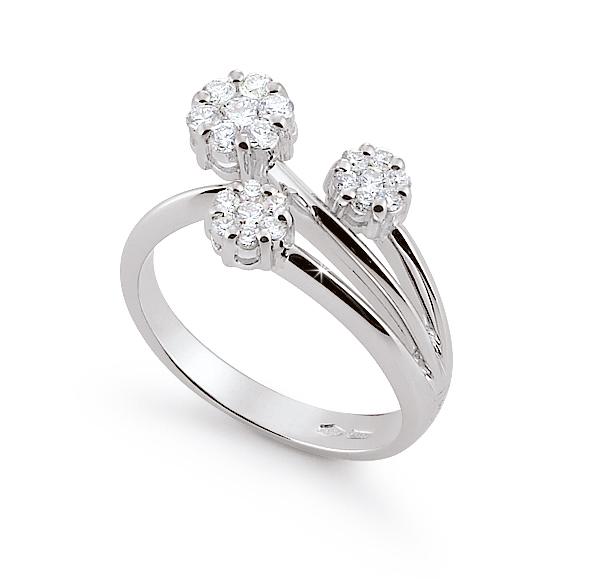 Trilogy Flower Italian Designer Ring 051 Ct Diamonds 18K White Gold