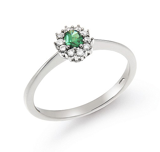 0.20 Ct Emerald Halo Engagement Ring 0.14 Ct Diamonds 18K White Gold