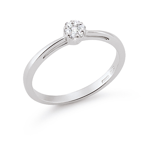 Micro-Pave Flower Engagement Ring 0.09 Ct Diamonds 18K White Gold