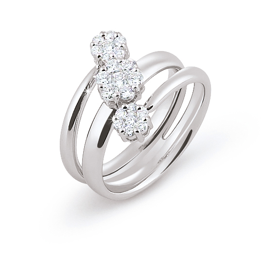 Unique Trio Flower Ring 0.54 Ct Diamonds 18K White Gold