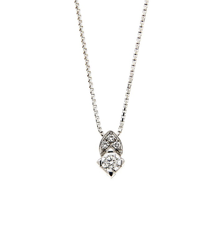 Modern Necklace From Italy 0.29 Ct Diamonds 18K White Gold
