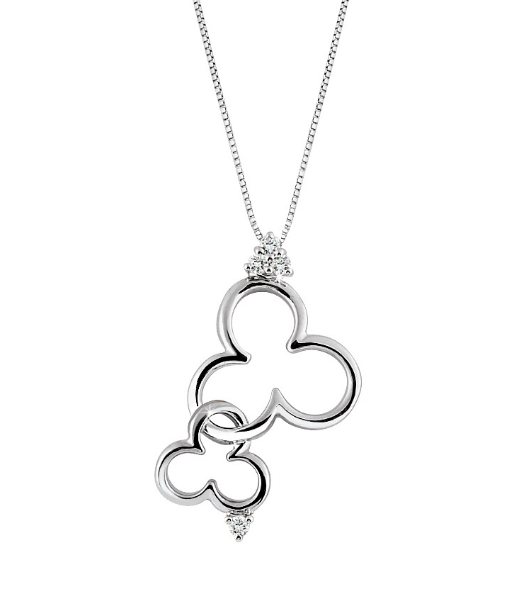 Interwoven Clover Leaves Necklace 0.09 Ct Diamonds 18K White Gold