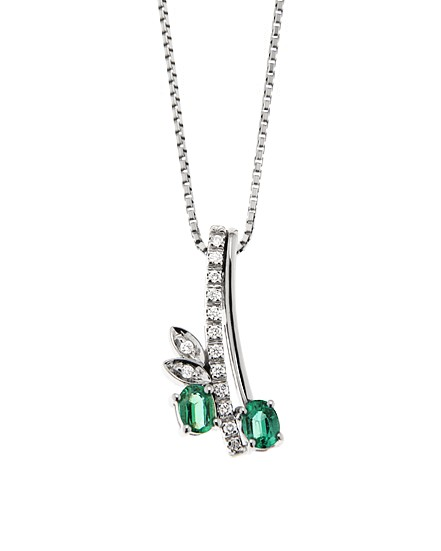 Italian 0.30 Ct Emerald Drop Pendant & Necklace 0.08 Ct Diamonds 18K White Gold